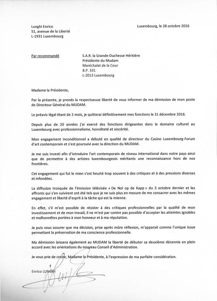lettre de démission luxembourg 5minutes.lu   Luxembourg   Mudam: Démission officielle du  lettre de démission luxembourg