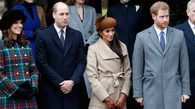 Royauté : William, Harry et leurs chéries à la messe de Noël