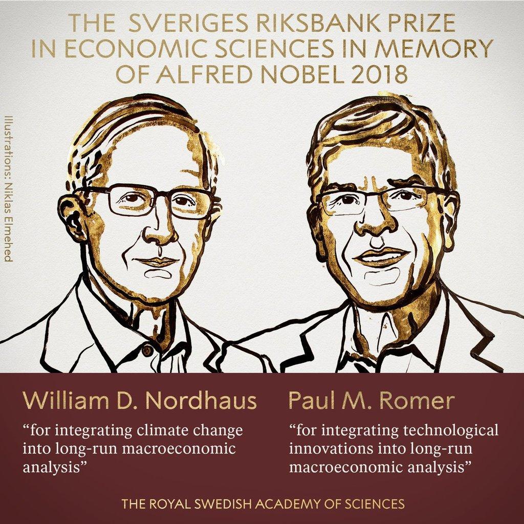 Nobelpräis geet u William D. Nordhaus a Paul M. Romer