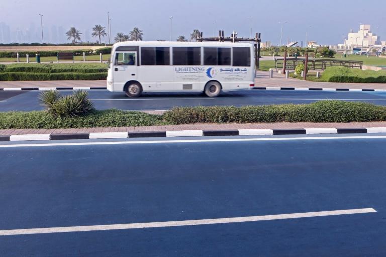 RTL Today - Reflecting heat: Feeling blue: Qatar road turned