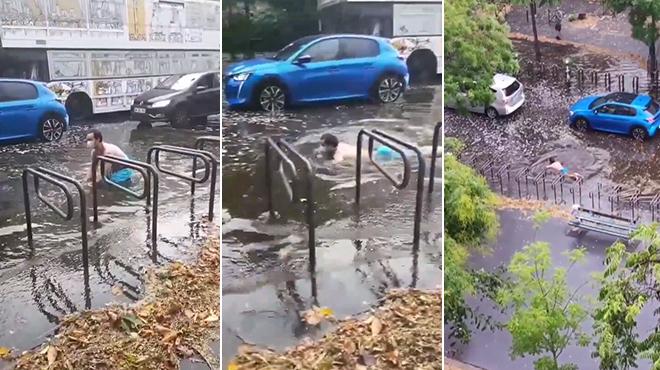 Insolite :Il profite des inondations pour nager sur la route