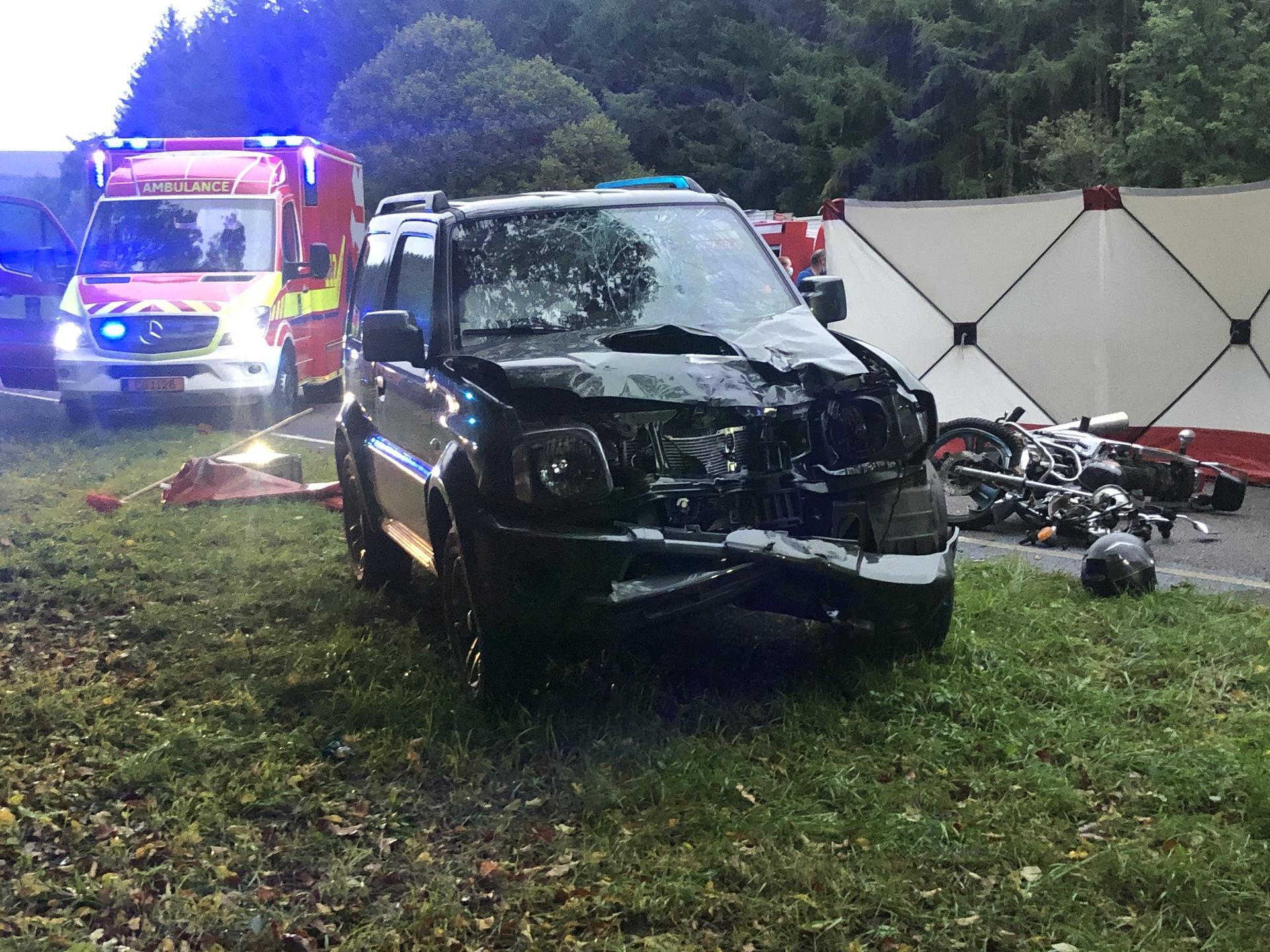 Accident mortel :Un motard de 19 ans victime d'un choc frontal près de Buderscheid